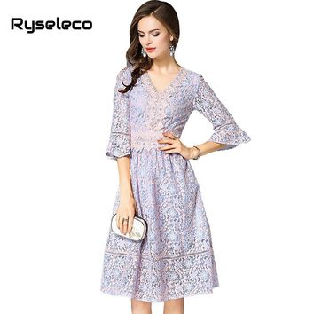 Spring Women High Fashion Quality Crochet Floral Lace Patches Half Flare Sleeve V-neck Casual Dresses Girls Lolita Swing Vestido