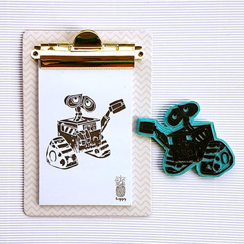 Disney Wall-e movie robot handmade rubber Stamp + FREE inkpad - scrapbooking, cards making, stamping