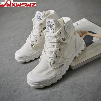 WXWSWZ 2018 Fashion High Top Sneakers Canvas Shoes Women Casual Shoes White Flat Female Basket Lace Up Solid Trainers Chaussure