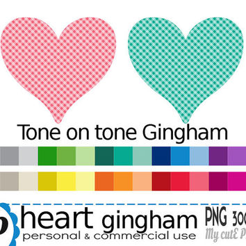 Heart Gingham  - Clipart - 30 colors - 30 PNG files - 300 dpi - Instant download - Transparent PNG-  valentine's day -CA11