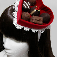 Red Velvet Valentine's Day Chocolate Candy Heart Box Gothic and Lolita Hat - Made to Order
