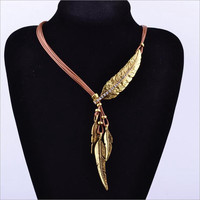 New Fashion Bohemian Style Bronze Rope Chain Feather Pattern Pendant Necklace Gold Silver Free Shipping