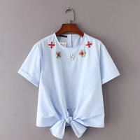 2017 New Fashion Women Vintage Hand Made Beading Hem Bowknot Blouses Shirts lady short sleeve Feminine Blusas Tops SB1058