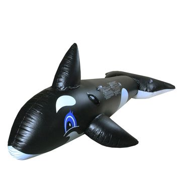 "75"" Black and White Whale Rider Inflatable Swimming Pool Float Toy"