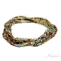 Seed Bead Stretch Bracelets, Set of 5, Metallic Silver and Gold Tone Beads, 7 inch, Ready to Ship