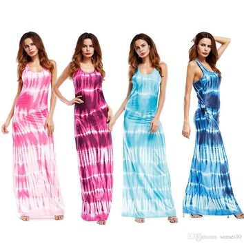 New Off-the-shoulder sexy slim ladies gradient colorblock print sleeveless casual 5XL oversize long dress for women