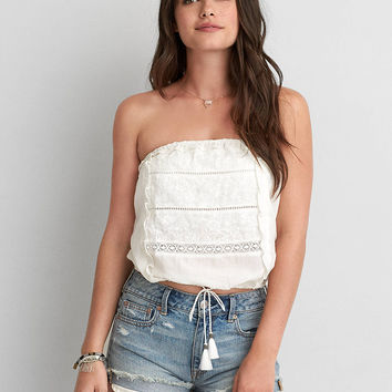 AEO STRAPLESS EMBROIDERED BUBBLE SHIRT