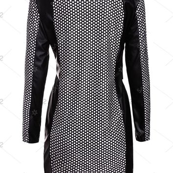 Sexy Women's Jewel Neck Long Sleeve PU Leather Splicing Printed Dress - White And Black - L