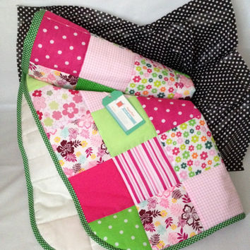 Baby girl quilt~ pink and green~ flowers~ spots~ gingham~ patchwork~ crib cot quilt~ hawaiin blanket~ baby quilt~ whimsical~ baby bedding