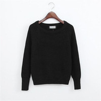 Casual Solid Cable Knit Sweater