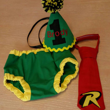 Baby boy cake smash outfit,  first birthday outfit, Robin insipired outfit, superhero birthday, superhero colors green red yellow and black
