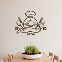 Housewares Wall Vinyl Decal Food Emblem Ready to Eat Meal Dish Spoon Folk Knife Kitchen Cafe Interior Home Art Decor Kids Nursery Removable Stylish Sticker Mural Unique Design for Any Room