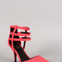 Neon Pointy Toe Caged Ankle Cuff Pump