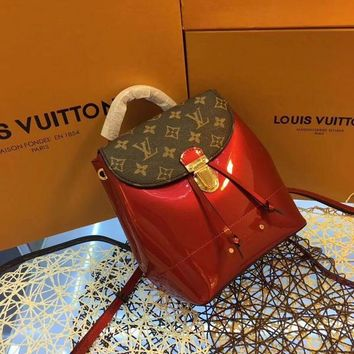 QIYIF L001 LV Vernis Leather Hot Spring Mini Backpack Rope Covering Female Bag 20.5-21-12.5cm Maroon Red