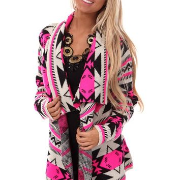 Hot Pink Aztec Pattern Waterfall Cardigan