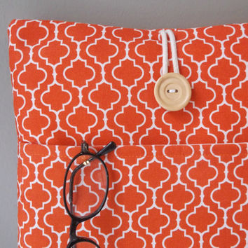 Orange Mac book Pro 13 case pocket, Laptop case charger cord pocket, MacBook Pro Air 13. 3 inch screen sleeve, Moroccan Tile Fabric Bag
