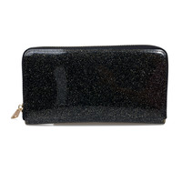 Black Glitter Patent Clutch Wallet