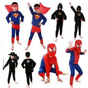 Halloween Girl Boy Kids Superman SpiderMan Zorro Batman Outfit Hero Kids Costumes 2-7Years Dress up