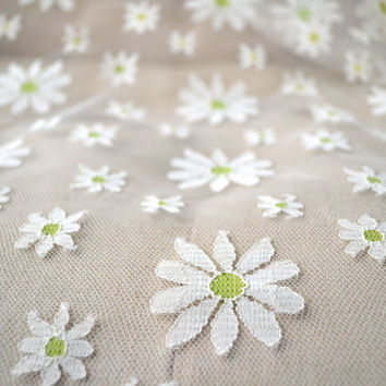 Retro Vintage 1950s Daisy Net Lace Fabric Nearly 7 Yards Total for Dress or Curtains