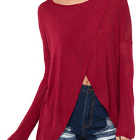Burgundy Wrap Front Long Sleeve Knitted Blouse