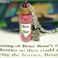 Briar Rose Sleeping Beauty Princess Aurora Magical Necklace with an Owl Charm by Life is the Bubbles