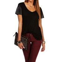 Sale-black Faux Leather Sleeves Top