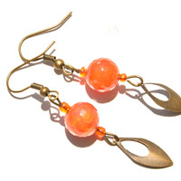 Orange earrings Agate earrings Orange stone earrings Simple dangle earrings for her