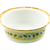 Antique Limoges Bowl Tressermann and Vogt Antique T & V Daisy Chain Pattern Porcelain Covered Dish Missing Cover Hand Painted Daisies Heavy