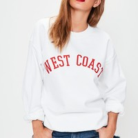 Missguided - White West Coast Slogan Sweatshirt