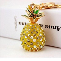 ONETOW 2017 Tropical Fruit Pineapple Crystal Keychains Purse Bag Pendant For Car Keyrings High-grade Gift Women key chains holder Metal