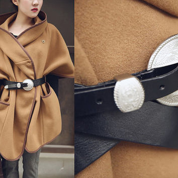Classic Black Calf Leather Belt Wide Leather Belt Genuine Leather Handcrafted Leather Belt Silver Buckle Women Leather Belt Retro Style
