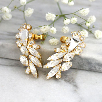 Bridal Rose Gold earrings, Bridal Climbing earrings, Bridal Cluster Studs, Swarovski Bridal earrings, White Crystal Climbing Earrings