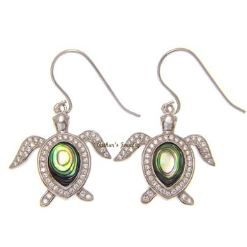 ABALONE PAUA SHELL 925 STERLING SILVER HAWAIIAN SEA TURTLE HOOK EARRINGS CZ 21MM