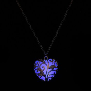 Magical Aqua Purple Heart Glow In The Dark Pendant Necklace Gift Peach heart mosaic Luminous necklace #910