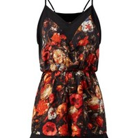 Fashion Union Black Floral Print Playsuit