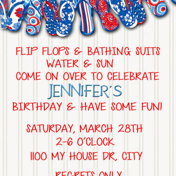Birthday Invitation-Birthday Card-Red,White,Blue Flip Flop Beach-Pool Party Card-5 X 7 -1 Sided