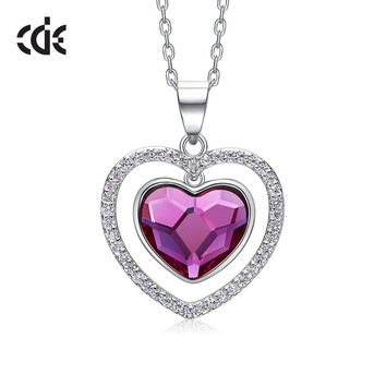 CDE S925 sterling silver necklace  Swarovski from crystals necklace women pendants Luxury Fashion Heart Jewelry Valentine gift
