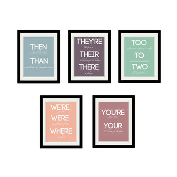 "Grammar Print Set. Educational Posters. Teacher. Classroom. Kids Bedroom Posters. Typography. Custom Colors. 8.5x11"" Prints."