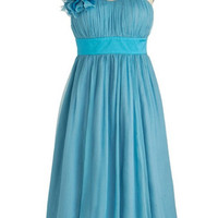 Custom A-line One-shoulder Sleeveless Knee-length Chiffon Bridesmaid Dress With Sashes Flowers Free Shipping