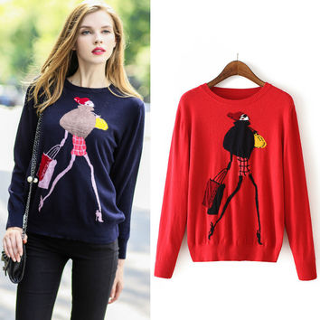 Autumn Round-neck Long Sleeve Pullover Knit Tops [6332327108]