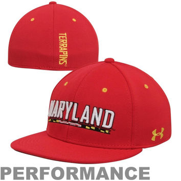Under Armour Maryland Terrapins Stretch Fit Flat Bill Performance Hat - Red