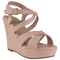 Womens Strappy Platform Wedges Coral