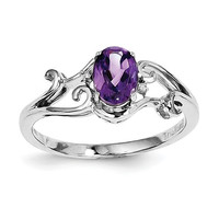 Sterling Silver Diamond And Amethyst Oval Ring
