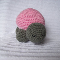 Crochet Turtle Stuffed Animal - Turtle Plushy Grey and Pink, Stuffed Turtle