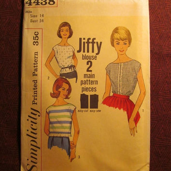SALE Uncut 1960's Simplicity Sewing pattern, 4438! Size 14 Bust 34 Medium/Women's/Misses/Extended Shoulders Tops/Blouses/Easy Jiffy Shirts