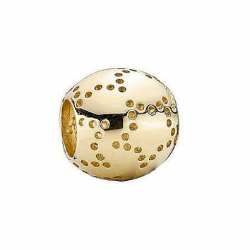 New Authentic Pandora Charm Solid 14kt Yellow Gold Starlight Bead