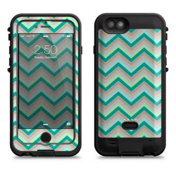 The Vintage Subtle Greens Chevron Pattern  iPhone 6/6s Plus LifeProof Fre POWER Case Skin Kit