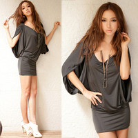 New Women Fluttering Batwing Cowl Neck Mini Dress Hip-length Tops T-shirt Casual