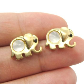 Baby Elephant Animal Shaped Stud Earrings in Gold with Pearl Detail