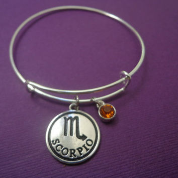 Zodiac Jewelry ~ Scorpio Alex and Ani Inspired Bracelet , Topaz Birthstone Jewelry , Birthstone Birthday Gift , Astrology Jewerly, Horoscope